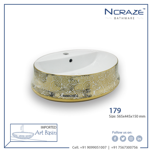 Golden White Table Top Wash Basin
