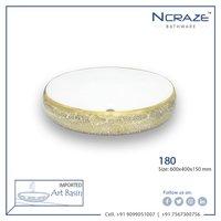 Rounded Golden white Wash Basin