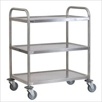 SS 90 x 50 x 95 cm Clearing Trolley 3 Tier