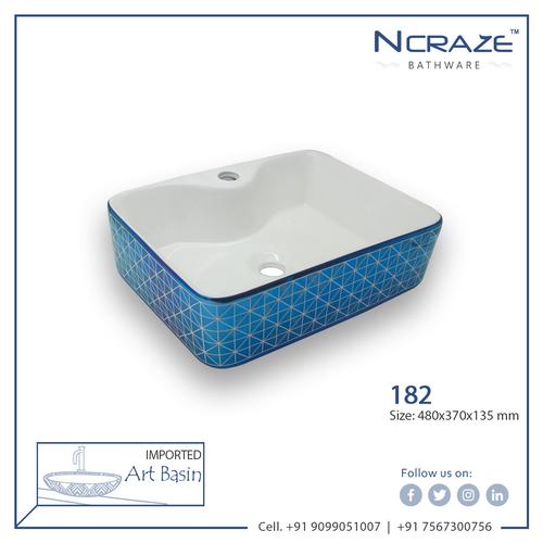 Blue color Rounded Rectangle Designer Wash Basin