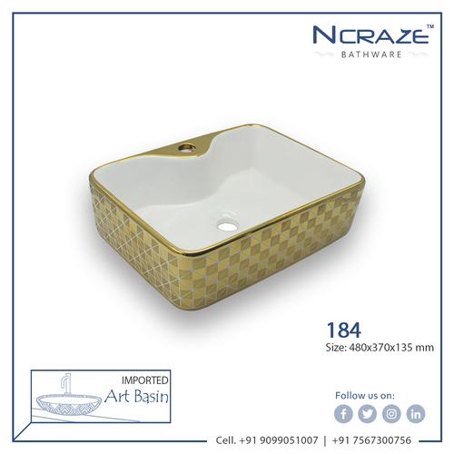 Golden White table top Ceramic Wash Basin