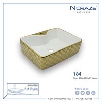 Golden White table top Ceramic Wash Basin