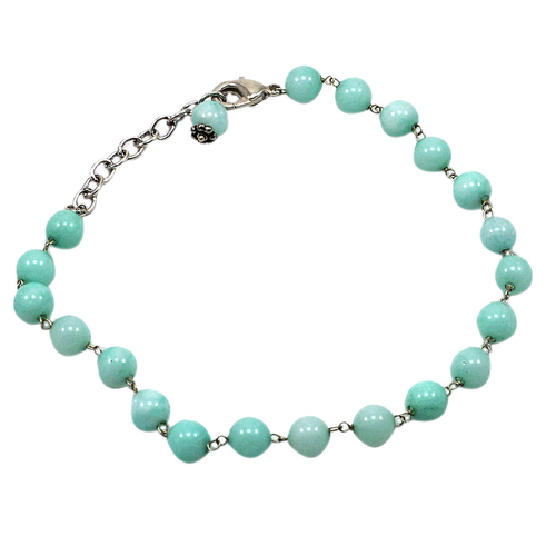 Amazonite Quartz Beaded Silver Bracelet PG-156744