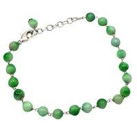 Green Quartz Beaded Silver Bracelet PG-156746