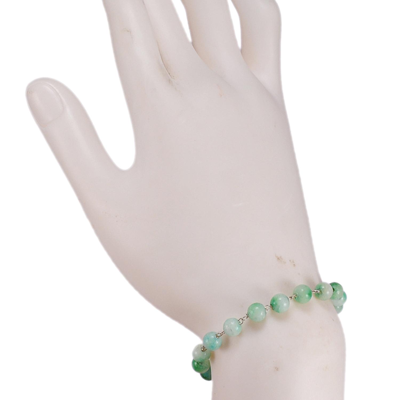Green Quartz Beaded Silver Bracelet PG-156748