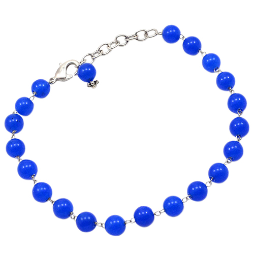 Blue Quartz Beaded Silver Bracelet PG-156749