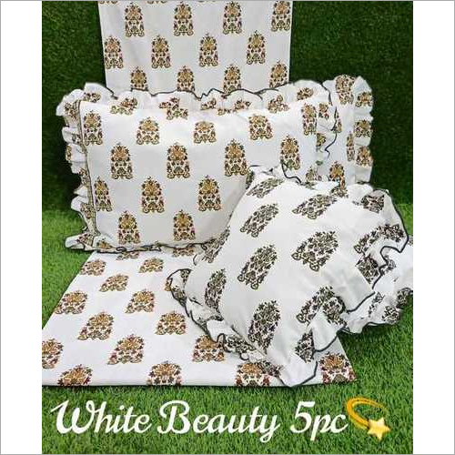 white beauty 5pc cushion set