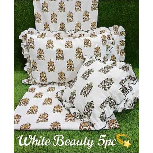 white beauty 5pc cushion set