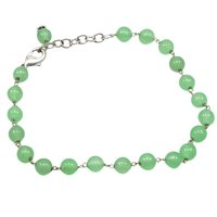 Green Quartz Beaded Silver Bracelet PG-156752