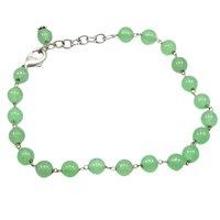Green Quartz Beaded Silver Bracelet PG-156752