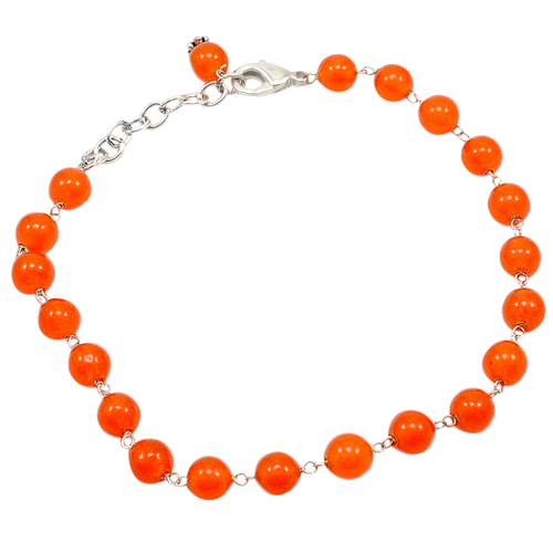 Orange Quartz Beaded Silver Bracelet PG-156753