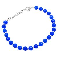 Blue Quartz Beaded Silver Bracelet PG-156758