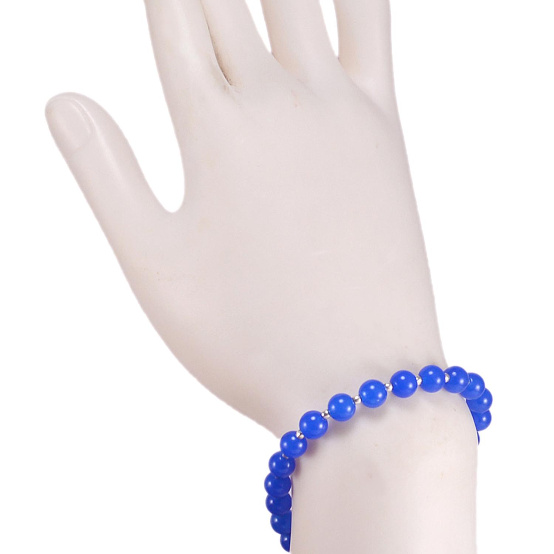 Blue Quartz Beaded Silver Bracelet PG-156758
