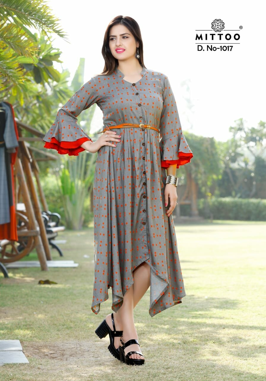 Belt Mittoo Launched Full Flair Rayon Kurti