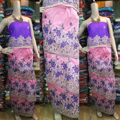 Pink, Blue Embroidered Designer George Fabric
