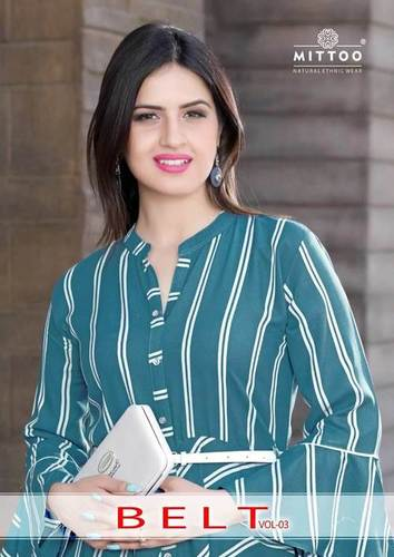 Belt Vol-3 Mittoo Rayon Cotton Flair Wholesale Kurti