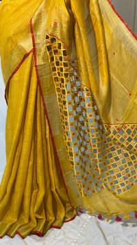PURE LINEN BY LINEN 120 COUNT ORGANIC SAREE WITH CUT + WORK FOIL WORK