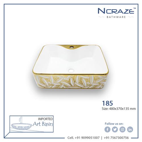 Ncraze Bath Golden White table top Ceramic Wash Basin