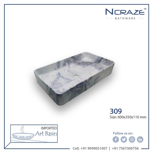 Purple White Rounded Rectangle ceramic Wash Basin