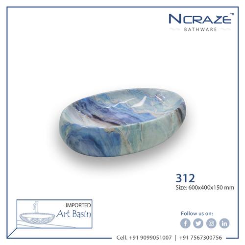 Oval Blue Color Wash Basin