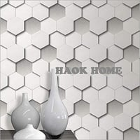 HaokHome 08291 Modern 3D Diamond Geometric Leather Textured Wallpaper
