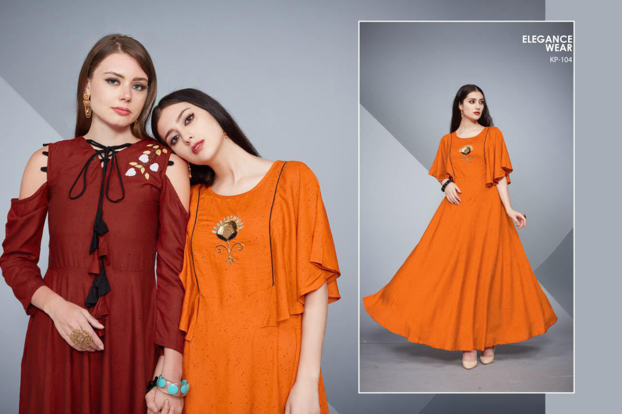 Blue Whale Krisha Plain Anarkali Pattern Wholesale Kurti