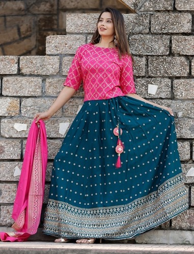 Pink navy blue lehenga set