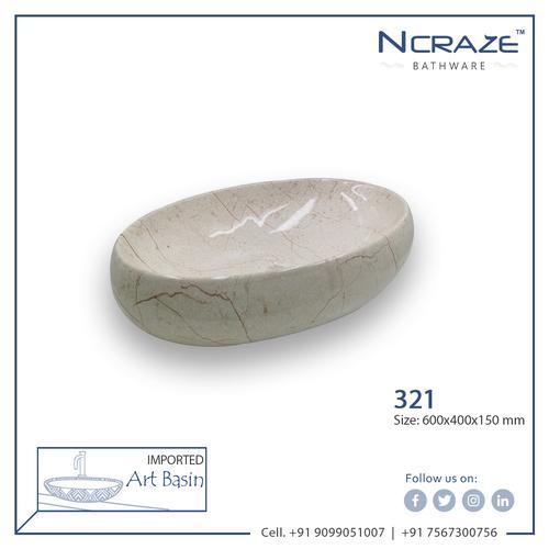 Cream color Oval Shape Art Wash Basin