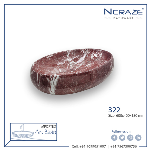 brownish-red White shaded imported wash basin