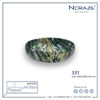 Army Green Oval Art wash Basin