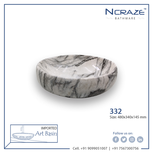 White Marble Oval Wash Basin
