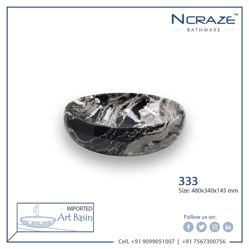 Black Marble White shaded Color wash basin