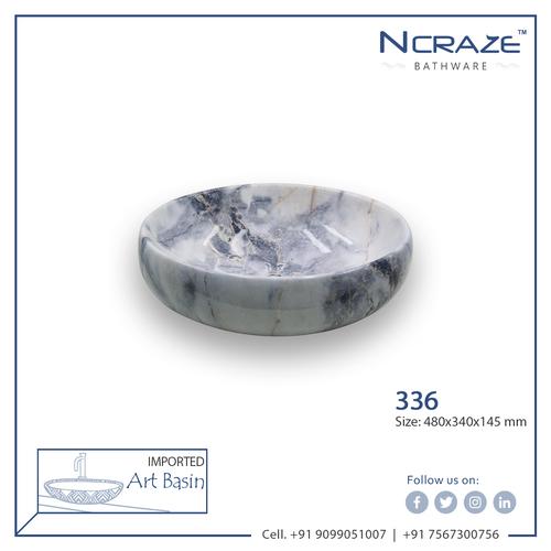 White Echo Blue shade Marble Wash Basin