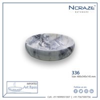 White Echo Blue shade Marble Wash Basin