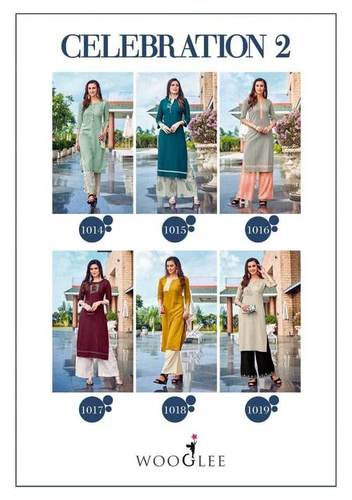 Celebration Vol-2 Wooglee Rayon Cotton Kurti Set