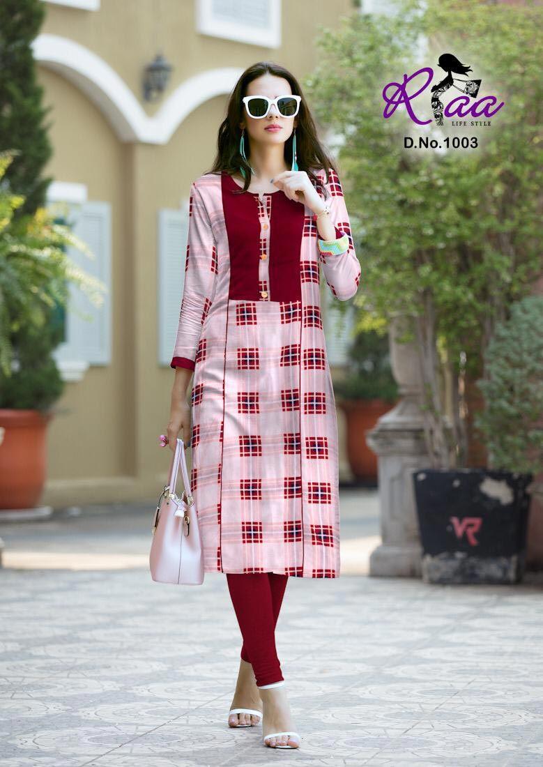 Checks Riaa Lifestyle Premium Rayon Print Slit Kurti