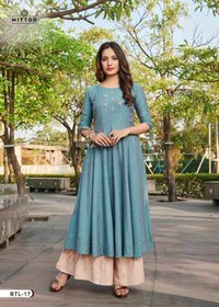 Chiffon Slub Sharara Kurtis Wholesale Size Set