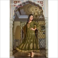 Gold and Embroidery Work Long Dress