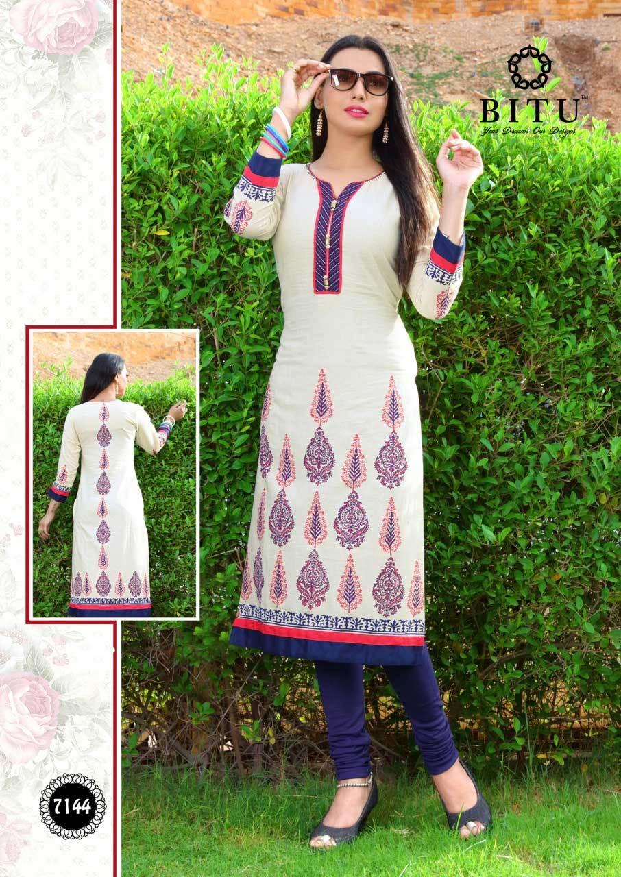 Chogada Bitu Present Cotton Flex Printed Straight Kurtis