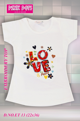 Love Peace Embroidery Girls Top