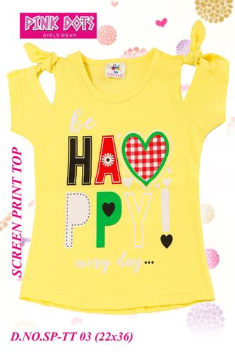 Happy Screen Print Girls Top