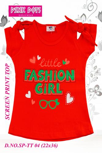 Little Fashion Girl Screen Print Girls Top