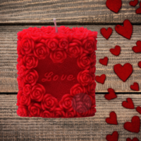 Love Rose Candle-Red, Tea Rose pack of 1