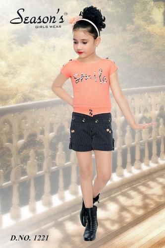 Pink Girls Hot Pant Set