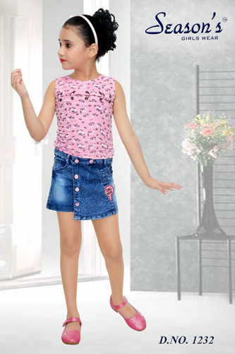 Pink Kids Hot Pant Set