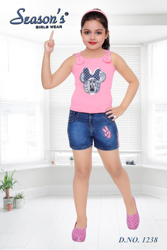Pink Girls Seasons Hot Pant Set