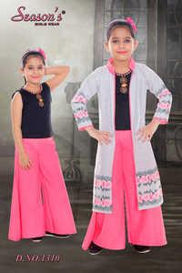 Pink Girls Palazzo Set with Shrug