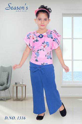Pink Kids Party Wear Kurta Palazzo Set