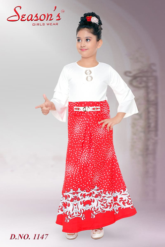 Red Color Girl Western Frock
