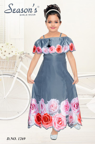 Light Grey Girl Western Frock